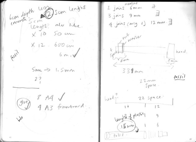 Slightly illegible notes - lots of measurements!