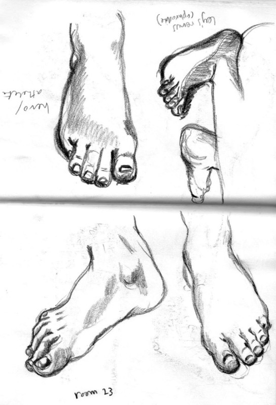 I had trouble with Fred's feet to did some foot studies in Room 23 (Greeek & Roman Sculpture) at the British Museum