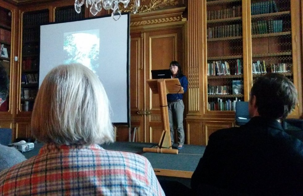 Ingrid Gonzalez talking at 'Edward James in Mexico' symposium
