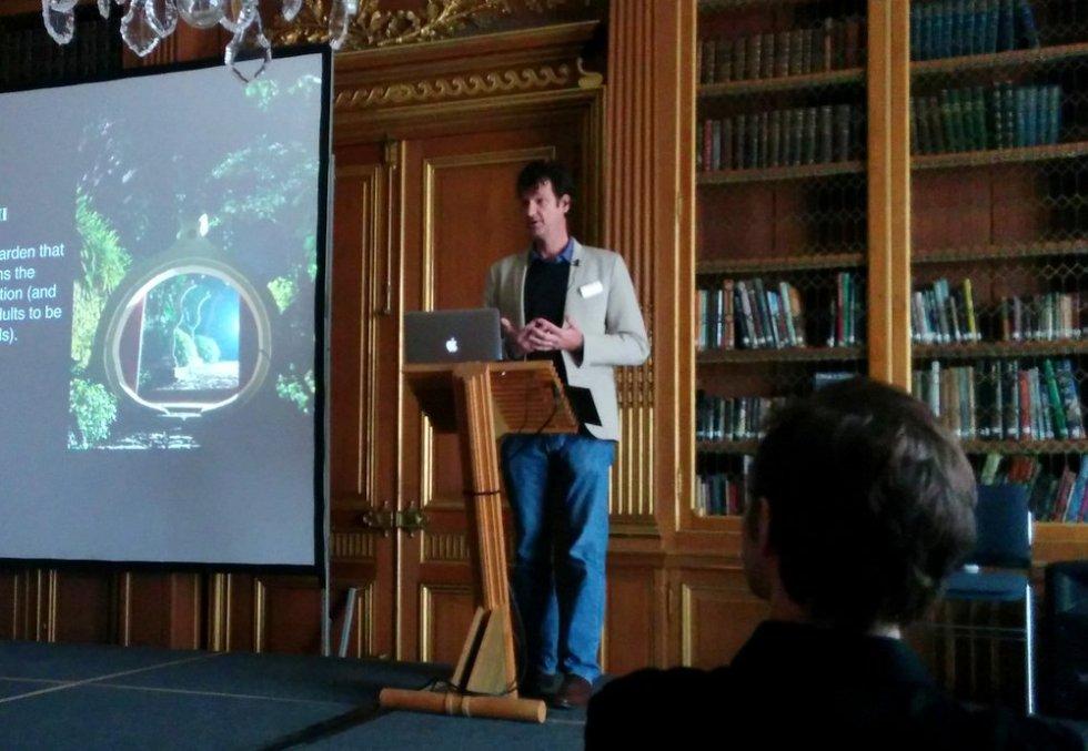 Mathew Holmes talking at 'Edward James in Mexico' symposium