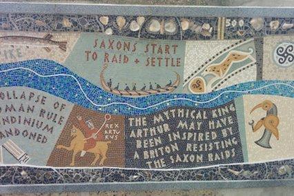 Detail of Queenhithe mosaic: Saxon raids