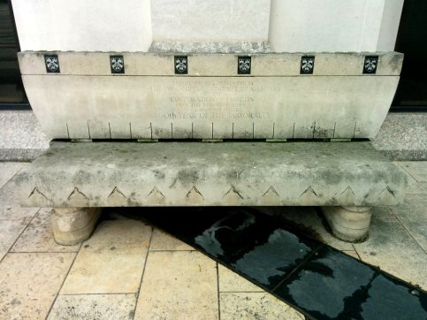 A stone bench presented to the Corporation of London by the Worshipful Company of Masons; one of the City's Guilds