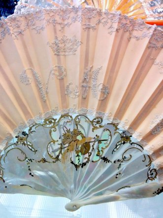 Embroidered silk fan