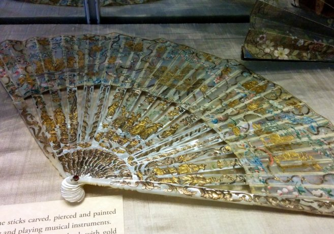 Carved, pierced and painted mother of pearl fan