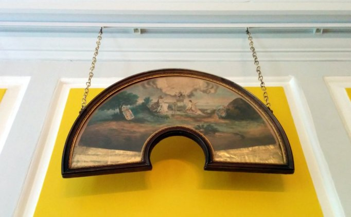 A framed fan leaf (painting unmounted and unpleated)