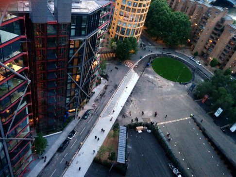 Looking down from Switch House viewing level towards the yellow Bankside Lofts building