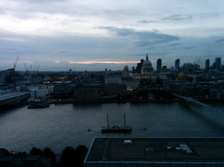 Looking down from Switch House viewing level over the Thames with St Pauls in the distance