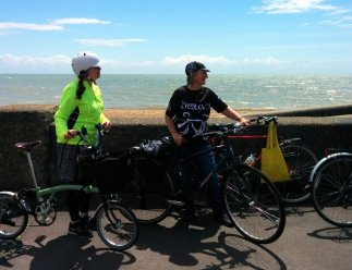 Cycling along the sea front