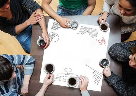 co-working conference table coffee