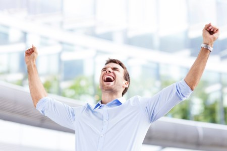 employee excited at accomplishment