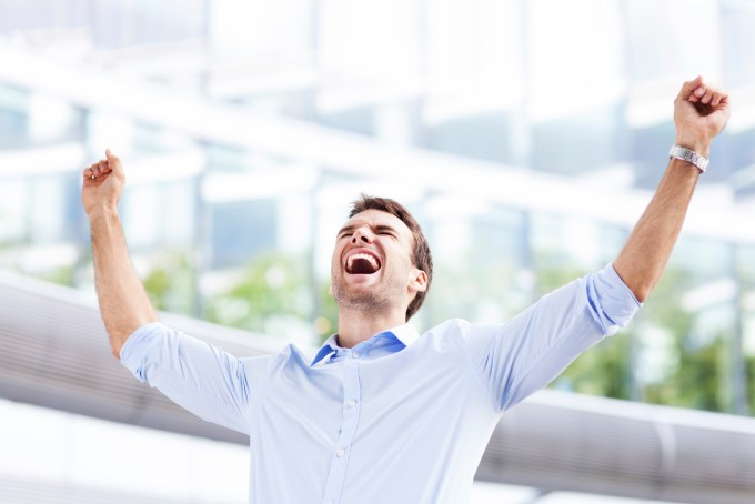 employee excited about accomplishment