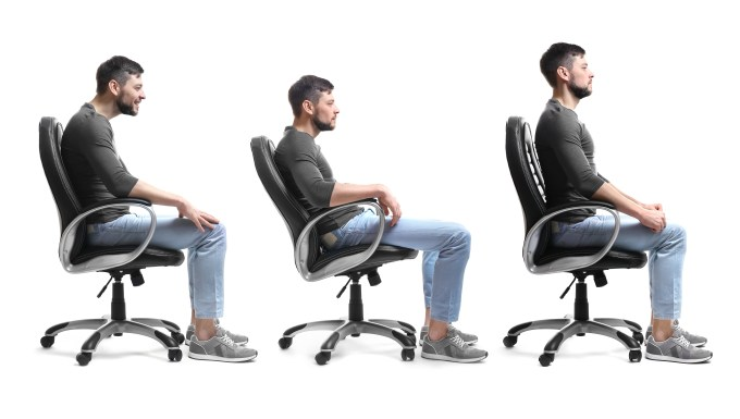 3 images of man sitting in office chair