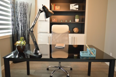a very neat home office and desk ergonomic workspace lighting