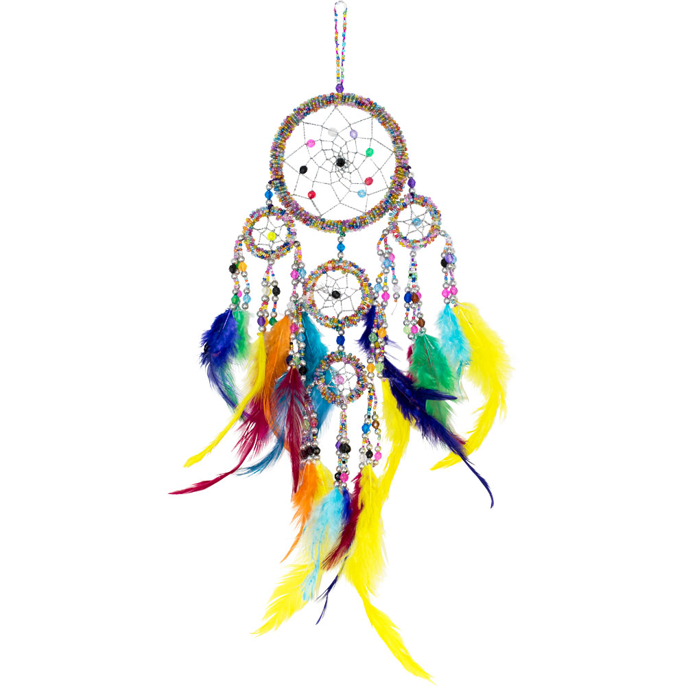 Multicolored Beaded Dreamcatcher with Feathers