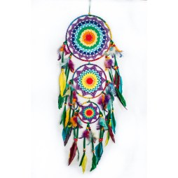 Multicolored Triple Layered Feathered Dreamcatcher