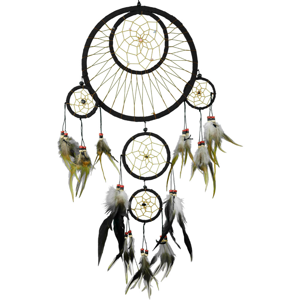 Black Multilayered Dreamcatcher With Embroidered Stones