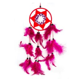 Macrame Pink and Red Dreamcatcher