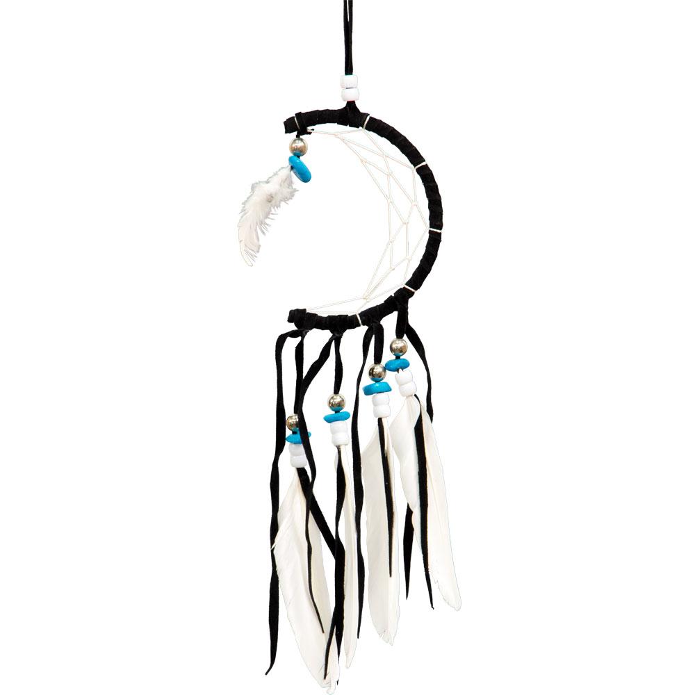 Black and White Half Moon Beaded Dreamcatcher