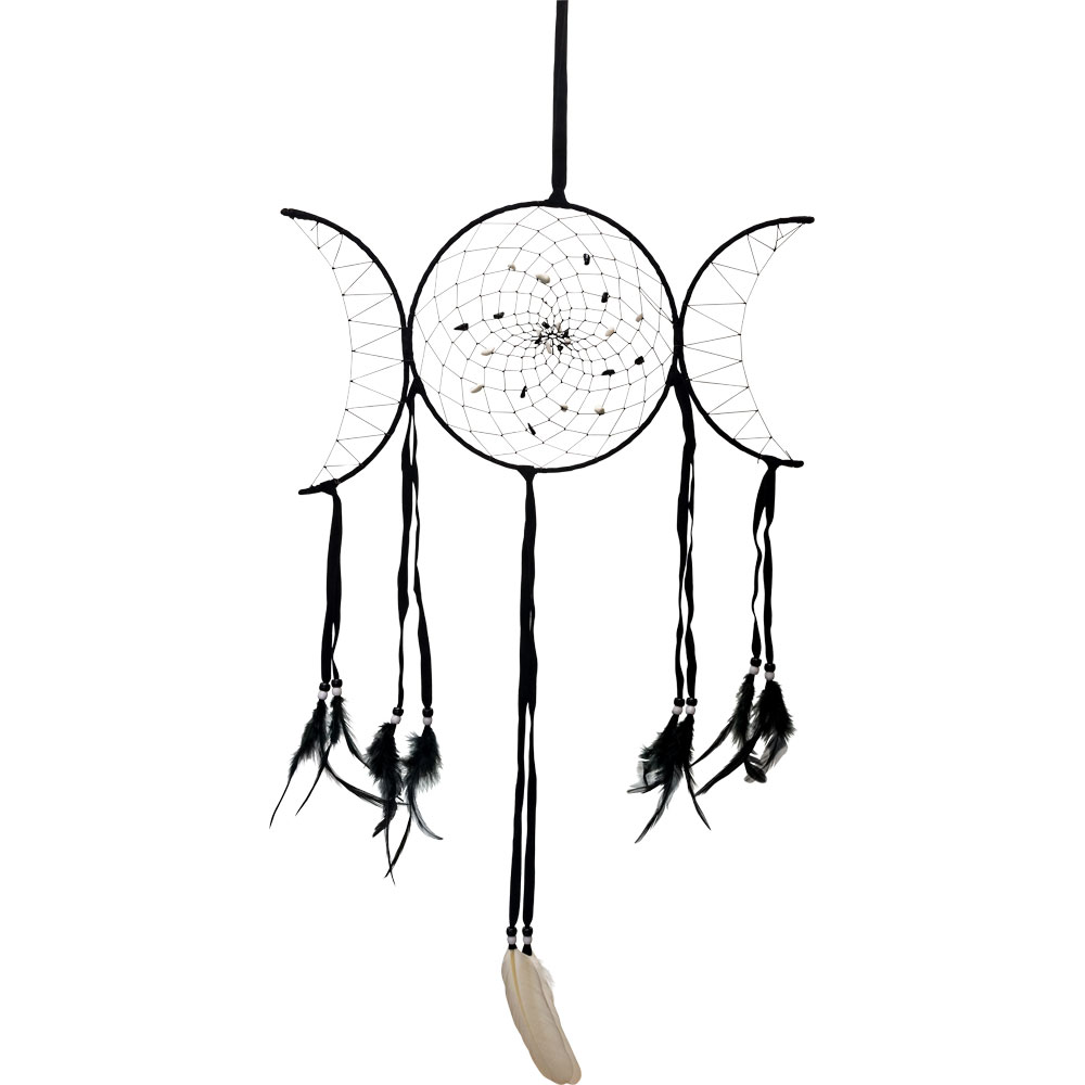 Triple moon Feathered Dreamcatcher with Gemstones