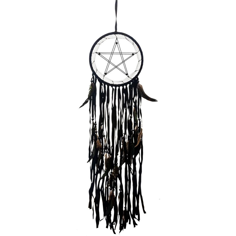 Handmade Black Star Dreamcatcher with Long Ribbons