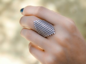 Checker Silver Ring