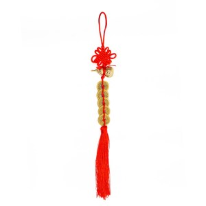 Feng Shui Hanging Item with Chinese endless knot and a set of seven coins