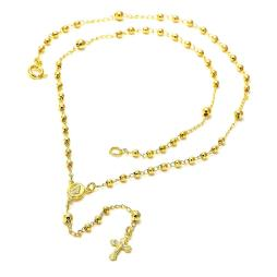 Caridad del Cobre and Cross Design Rosary in Gold Layered