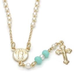 Divino Niño and Crucifix Design with Mother of Pearl Rosary in Gold Layered