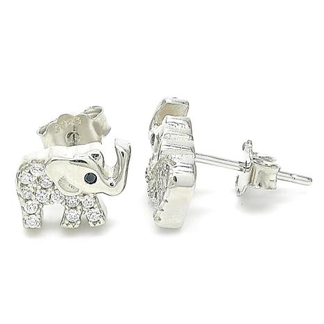 Silver Earrings with Silver Rhinestone Elephant