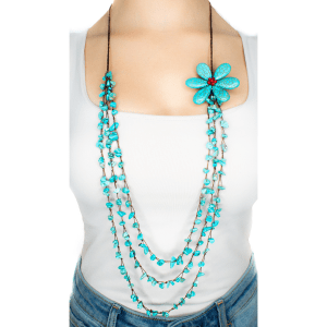 Turquoise Flower handmade Strand Necklace