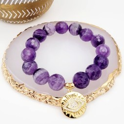 Faceted Banded Amethyst with Gold Plated Evil Eye Charm
