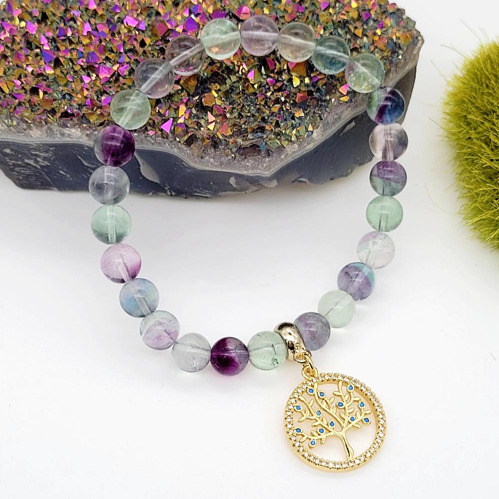 Rainbow Fluorite Beads Elastic Bracelet with Dangling Tree of Life Charm