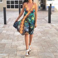 Women Beach Evening Summer Halter Midi Dresses Free Size - G-6178