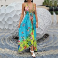 Women Elegant Halter Long Maxi Dresses Free Size - HAWAII Teal Dress 664