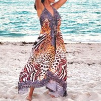 Women Elegant Halter Long Maxi Dresses Free Size - LEOPARD HILOW Dress 648