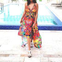 Women Beach Evening Summer Halter Maxi Dresses Free Size - SD-2565