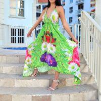 Women Beach Evening Summer Halter Maxi Dresses Free Size - SD-2559
