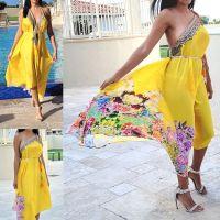 2-Ways to Wear Women Elegant Halter Maxi Dresses/ Duster Free Size - Dress 642