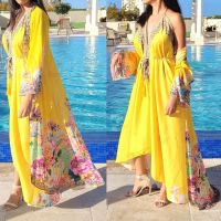 Women Elegant Halter Long Maxi Dresses/Cover Up Free Size - Yellow Duster 642