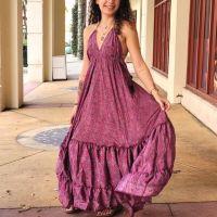 Women Beach Summer Halter Long Dresses Free Size - LONG MAGENTA 10203