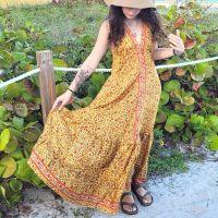 Women Beach Summer Halter Long Dresses Free Size - LONG YELLOW 10203