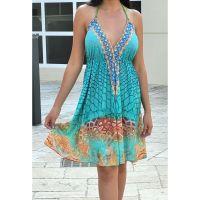 Women Beach Evening Summer Halter Midi Dresses Free Size - SD-2583