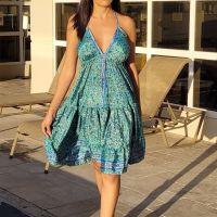Women Beach Summer Halter Midi Dresses Free Size - SHORT GREEN 10203