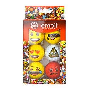 Emoji Erwachsene 6er Set Neuartige Fun Golfbälle, Multicoloured, 6 - 1