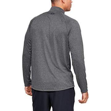 Under Armour Herren Tech 2.0 1/2 Zip sportliches Longsleeve, schnell trocknendes Langarmshirt für Männer, Grau (Carbon Heather/Black 90), Medium - 3