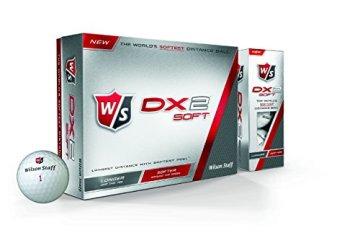Wilson Staff, Weltweit weichster 2-teiliger Herren Golfball für maximale Reichweite, 12er-Pack, Fortgeschrittene, 29er Kompression, Kautschuk, Dx2 Soft, Weiß, WGWP37100 - 1