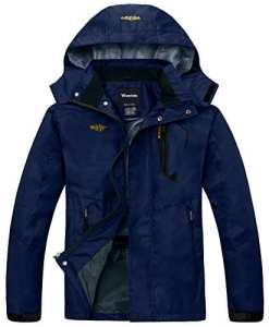 Wantdo Homme Anorak Veste Coupe-pluie Coupe-vent Imperméable à Capuche Sportif Bleu marine Small