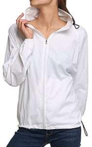 Sawadikaa Femme Légère Packable Veste de Sport à Capuche Protection UV Coupe Vent Imperméable à Séchage Rapide Veste en Plein Air Blanc XS