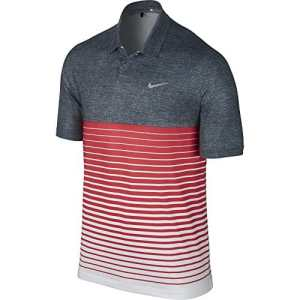 2015Nike Tiger Woods TW Bold Stripe Polo Masters Golf pour homme–Style # 648717–010, Homme, Classic Charcoal/Darling Red/Wolf Grey