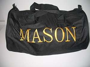 Brodée Noir Mason Francs-Maçons Franc-Maçon Utility Duffle Sports Sac de Voyage